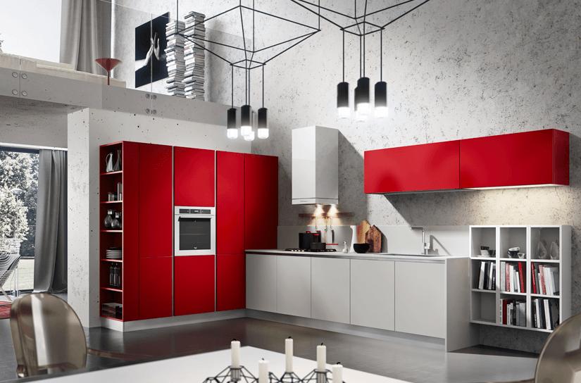 modern piros konyhabútor